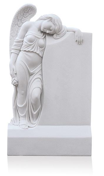 Grabdenkmal 10087 White Marble mit Ornament Engel A3089
