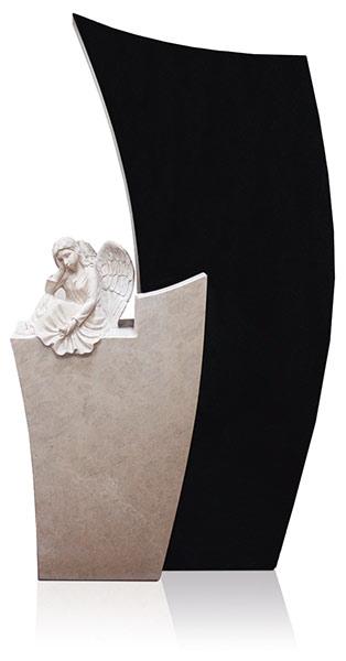 Grabdenkmal 9066* Super Black und Atlantic Beige mit Ornament Engel Nr. 5