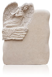 Grabdenkmal 10085 Atlantic Beige mit Ornament Engel A3090