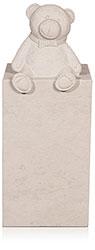 Kindergrabstein eckige Stele Atlantic Beige mit Ornament 9989*³ Bär