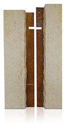 Grabdenkmal 9908* Jura Marmor mit Corten Stahl Werkstein Serie