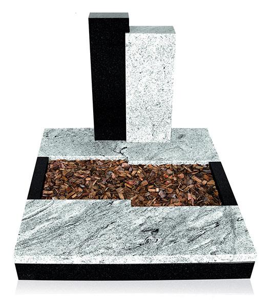 Grabanlage 4031 Wiscont White und Super Black mit Grabdenkmal 9925